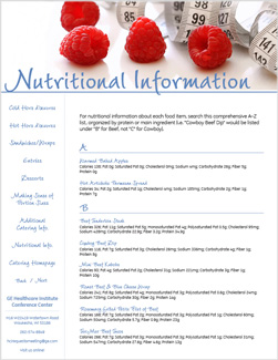 GE nutritional information page